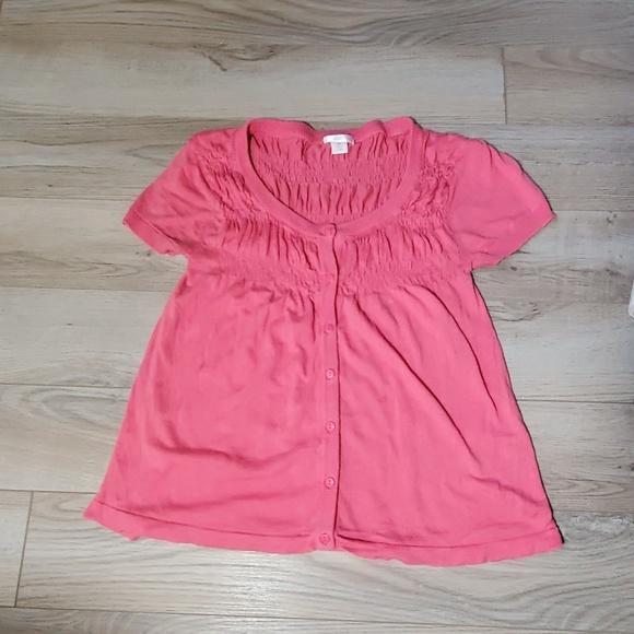 Xhilaration Sweaters - Pink Xhilaration Short Sleeve Crop Cardigan